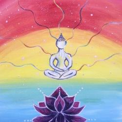 "Meditating Acrylic Painting 16x20"""