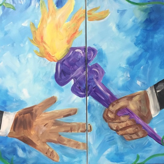 """""""Passing the Torch"""" Acrylic Painting 20x32"""" 2018"""