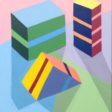 """Still Life Blocks Painting"" Acrylic 16x20"" 2014"